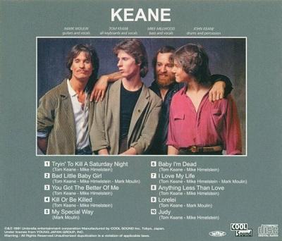 Keane / Keane (ドライヴィング・サタデイ・ナイト) (1981年) バック・カヴァー